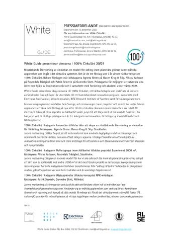 White Guide presenterar vinnarna i hållbarhetspriset 100% Cirkulärt