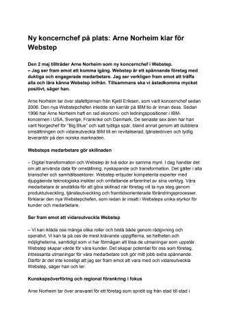 Ny koncernchef på plats: Arne Norheim klar för Webstep
