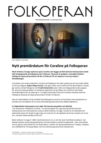 Nytt premiärdatum för Coraline på Folkoperan