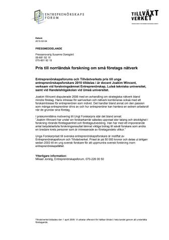 Pris till norrländsk forskning om små företags nätverk