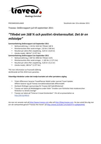 Traveas: Delårsrapport juli till september 2011