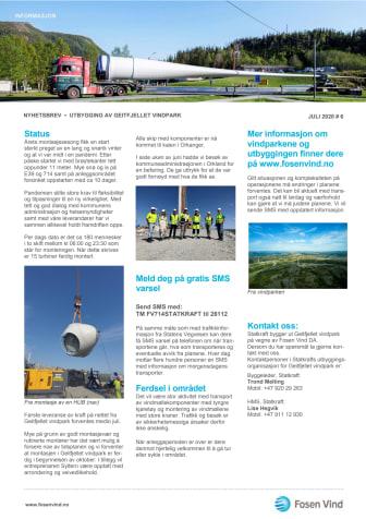 Nyhetsbrev nr 6/2020 Geitfjellet vindpark