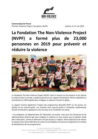 La Fondation The Non-Violence Project (NVPF) a formé plus de 23,000 personnes en 2019 pour prévenir et réduire la violence