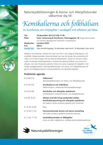 Kemikalierna och folkhälsan – en konferens om miljögifter i vardagen