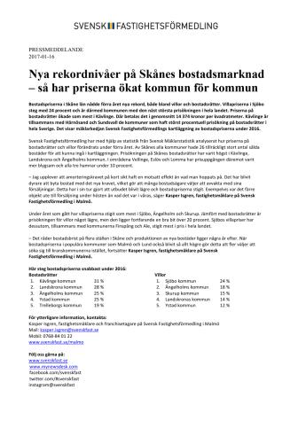 Nya rekordnivåer på Skånes bostadsmarknad – så har priserna ökat kommun för kommun