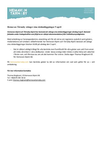 Hemavan och Tärnaby stänger sina skidanläggningar 5 april