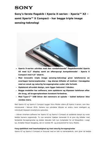 Xperia™ XZ og Xperia™ X Compact_Tekniske specifikationer