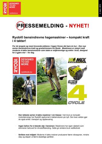 Ryobi® bensindrevne hagemaskiner – kompakt kraft i 4 takter!