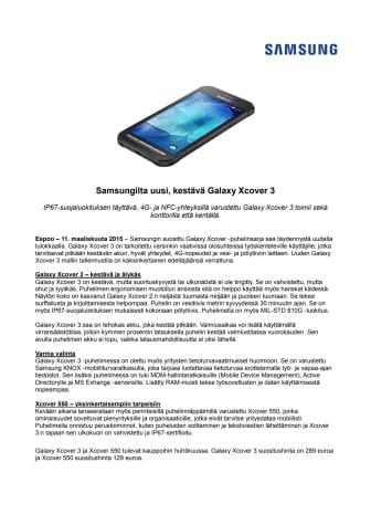 Samsungilta uusi, kestävä Galaxy Xcover 3