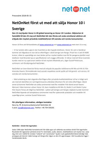 NetOnNet först ut med att sälja Honor 10 i Sverige