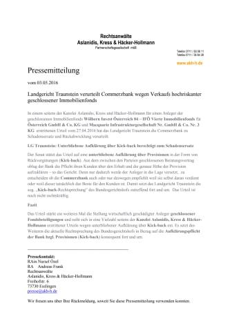 Rechtsanwälte Aslanidis, Kress & Häcker-Hollmann erstreiten erneut obsiegendes Urteil gegen Commerzbank AG