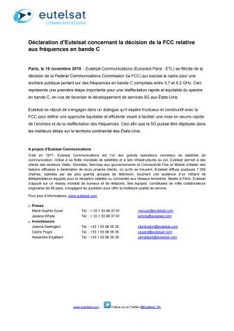 Déclaration d'Eutelsat concernant la décision de la FCC relative aux fréquences en bande C