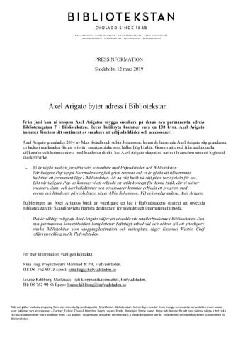 Axel Arigato byter adress i Bibliotekstan