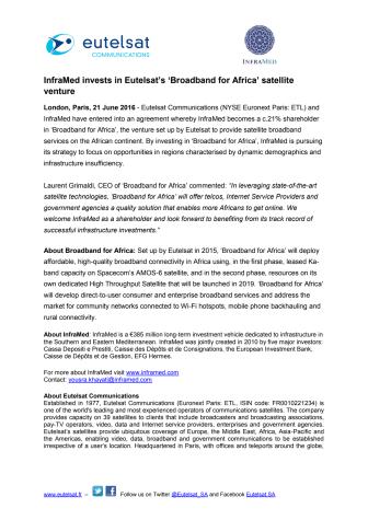 InfraMed invests in Eutelsat's 'Broadband for Africa' satellite venture