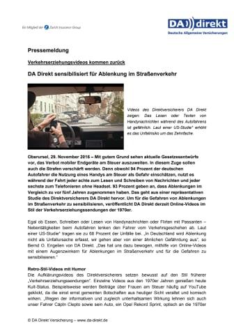 DA Direkt sensibilisiert für Ablenkung im Straßenverkehr