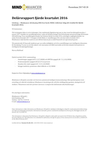 Delårsrapport fjärde kvartalet 2016