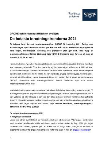 GROHE Hetaste inredningstrenderna 2021