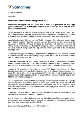 Scandlines' præsenterer årsrapport for 2013
