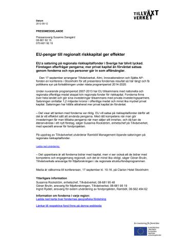EU-pengar till regionalt riskkapital ger effekter