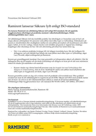 Ramirent lanserar Säkrare lyft enligt ISO-standard
