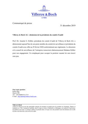 Villeroy & Boch AG : démission de la présidente du comité d'audit