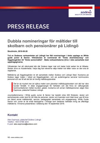 Dubbla nomineringar för måltider till skolbarn och pensionärer på Lidingö