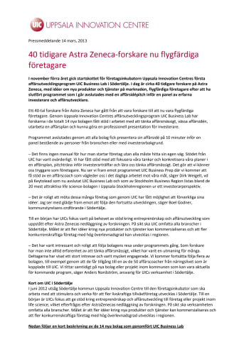 40 tidigare Astra Zeneca-forskare nu flygfärdiga företagare