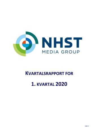 NHST Media Group - Kvartalsrapport 1.kvartal 2020