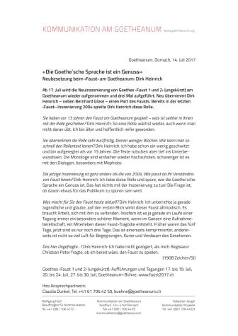 «Die Goethe'sche Sprache ist ein Genuss». Neubesetzung beim ‹Faust› am Goetheanum: Dirk Heinrich