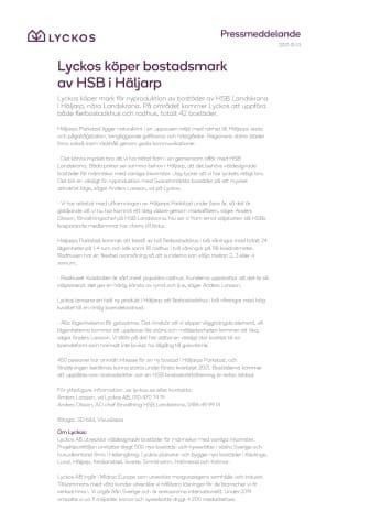 Lyckos köper mark av HSB Landskrona i Häljarp