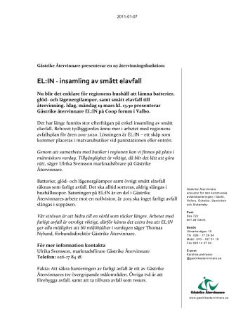 Nyhet! EL:IN - insamling av smått elavfall