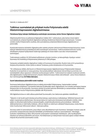 Tutkimus: suomalaiset pk-yritykset muita Pohjoismaita edellä liiketoimintaprosessien digitalisoimisessa