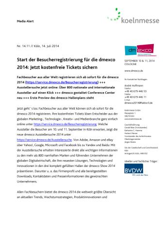 Start der Besucherregistrierung für die dmexco 2014: Jetzt kostenfreie Tickets sichern