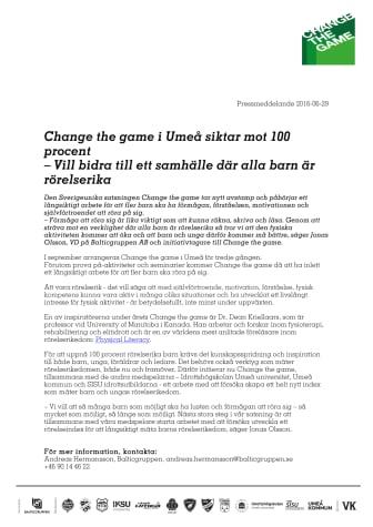 Change the game i Umeå siktar mot 100 procent – Vill bidra till ett samhälle där alla barn är rörelserika