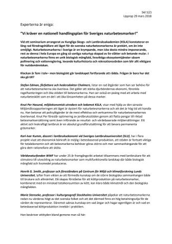 """""""Vi kräver en nationell handlingsplan för Sveriges naturbetesmarker!"""""""