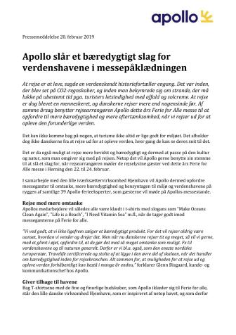 Apollo slår et bæredygtigt slag for verdenshavene i messepåklædningen