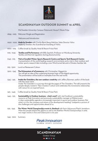 Program Scandinavian Outdoor Summit 16 april 2015