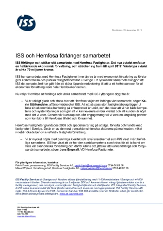 ISS och Hemfosa förlänger samarbetet