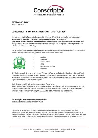 """Conscriptor lanserar certifieringen """"Grön Journal"""""""