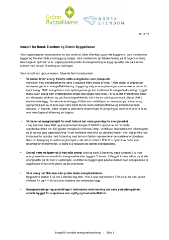 Norsk Eiendom og Grønn Byggallianse ga innspill til ny energimerkeordning
