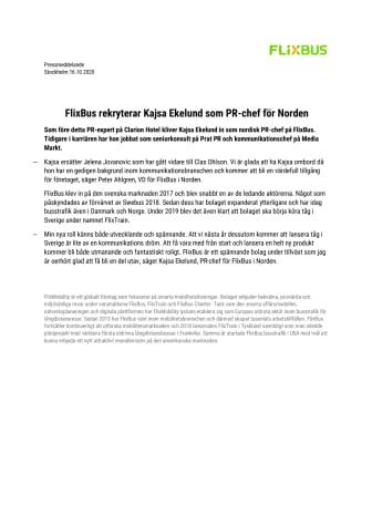 FlixBus rekryterar Kajsa Ekelund som PR-chef för Norden