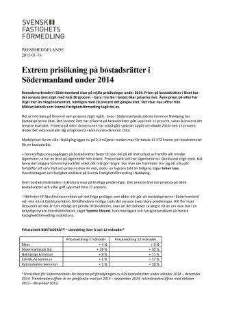 Extrem prisökning på bostadsrätter i Södermanland under 2014