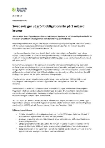Swedavia ger ut grönt obligationslån på 1 miljard kronor