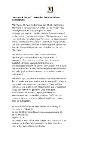 "Das ""Jetztmusik Festival"" zu Gast bei der Mannheimer Versicherung"