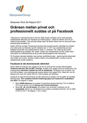 Manpower Work Life om gränsöverskridandet i de sociala medierna: Chefer snokar på Facebook inför rekrytering
