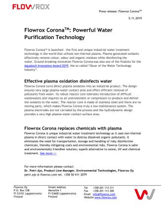 Flowrox Plasma Oxidizer: Powerful Water Purification Technology