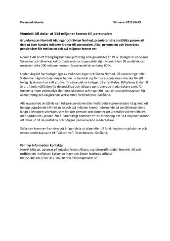 Nominit AB delar ut 114 miljoner kronor till personalen