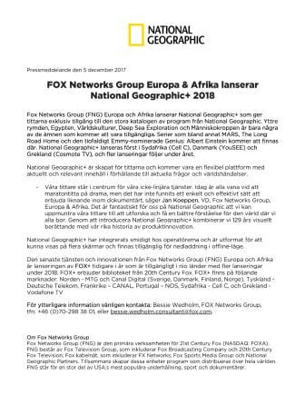 FOX Networks Group Europa & Afrika lanserar National Geographic+ 2018