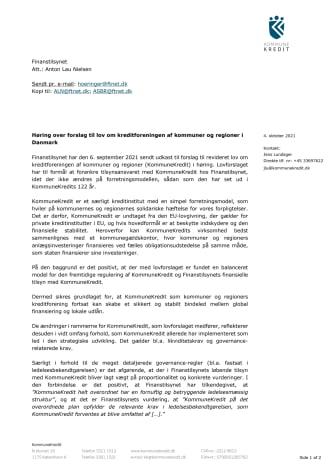 Høringssvar af 4. oktober 2021 til forslag til lov om kreditforeningen af kommuner og regioner i Danmark