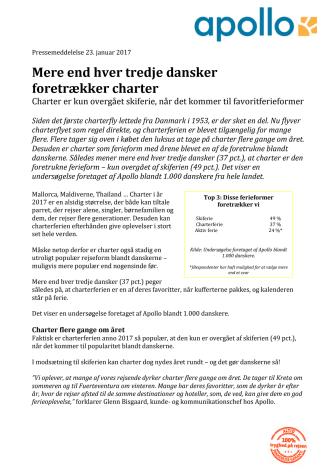 Mere end hver tredje dansker  foretrækker charter